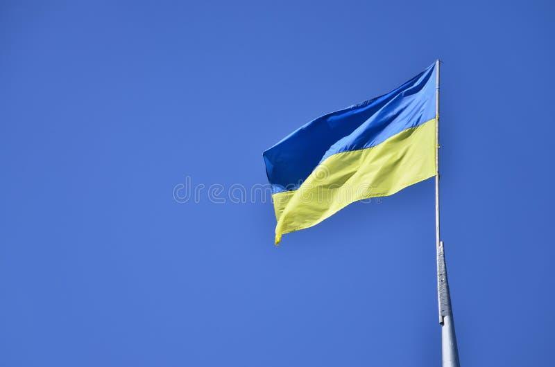 Bandiera ucraina contro il cielo senza nuvole blu La bandiera ufficiale dello stato ucraino comprende il colore giallo e blu immagine stock