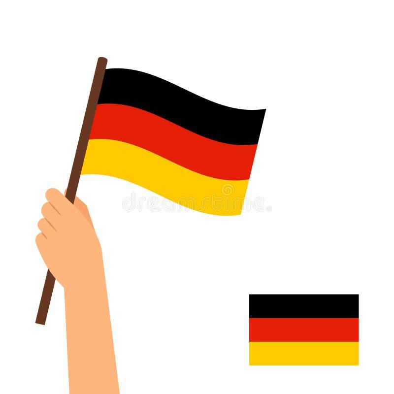 Bandiera umana della tenuta della mano della Germania royalty illustrazione gratis