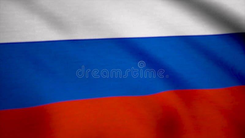 Bandiera variopinta della Russia che ondeggia nel vento Bandiera del fondo della Russia immagini stock libere da diritti