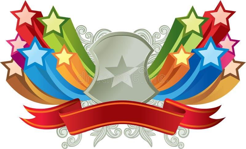 Bandiera variopinta della stella illustrazione di stock