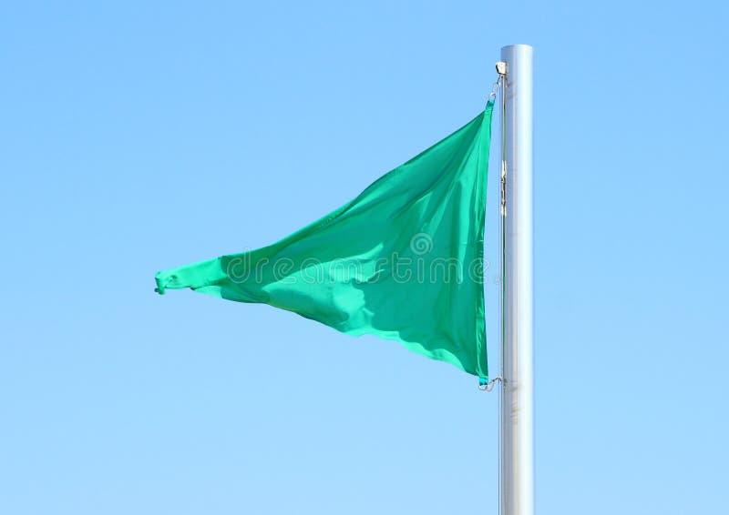 Bandiera verde che soffia nel vento immagine stock libera da diritti