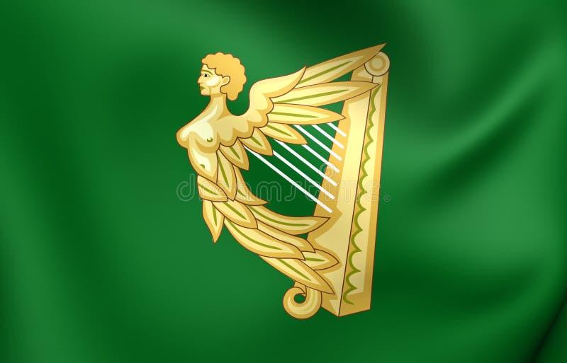 Bandiera verde dell'arpa dell'Irlanda illustrazione di stock