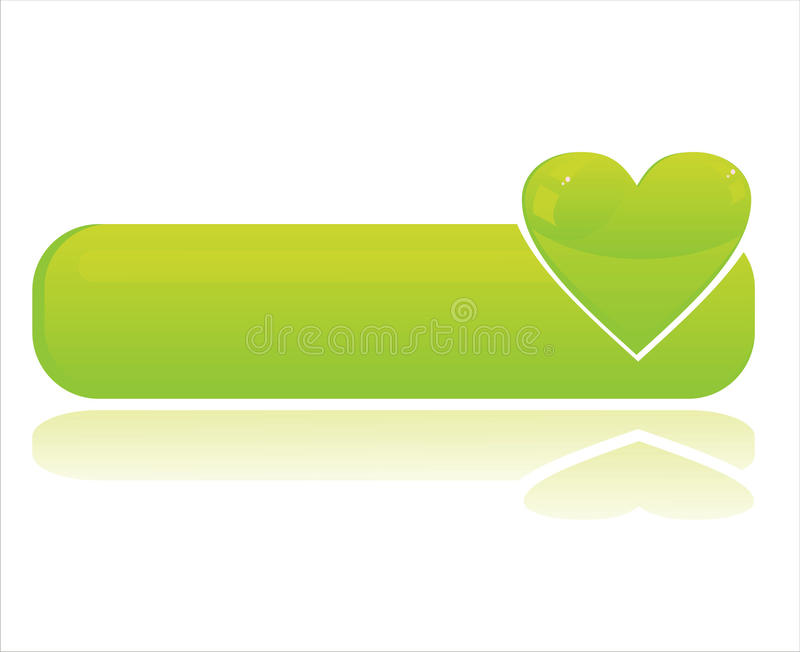 Bandiera verde lucida del cuore royalty illustrazione gratis