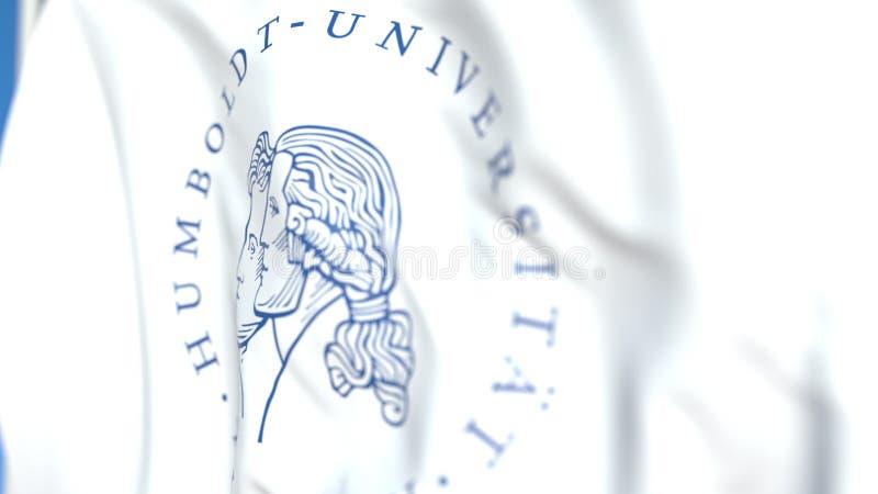 Bandiera volante con l'università di Humboldt di emblema di Berlino, primo piano Rappresentazione editoriale 3D illustrazione di stock