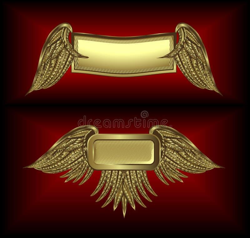 Bandiere alate oro illustrazione vettoriale