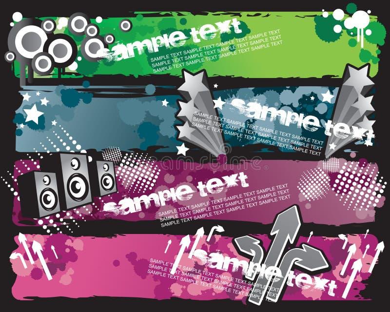 Bandiere alla moda di Grunge illustrazione vettoriale