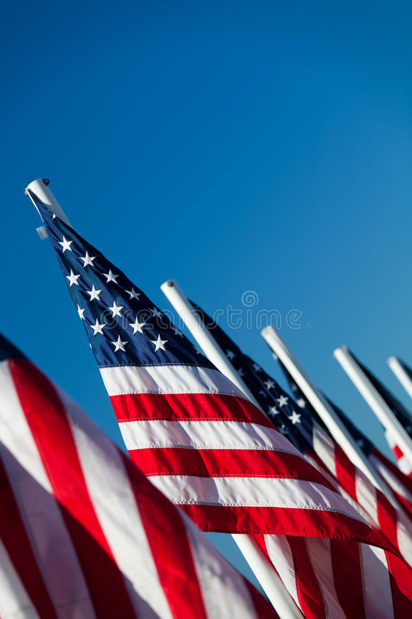 Bandiere americane degli S.U.A. in una riga fotografia stock libera da diritti