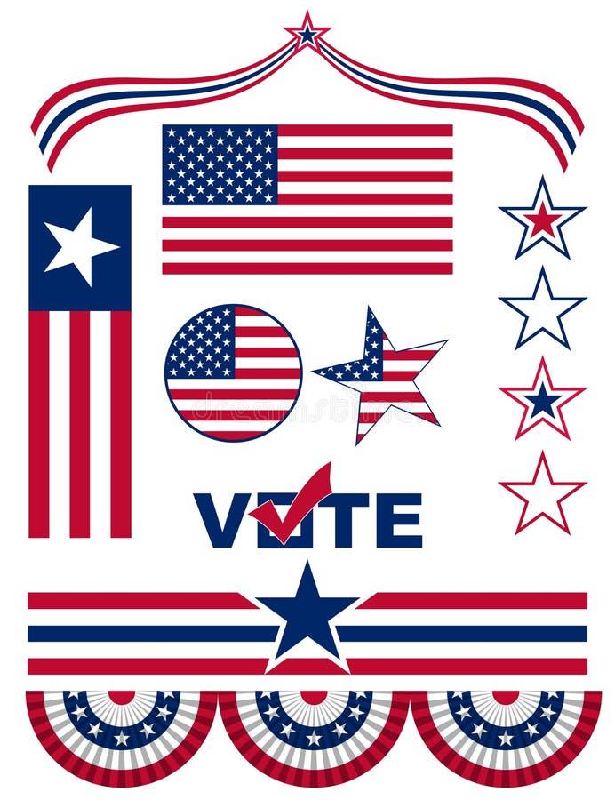 Bandiere americane e simboli royalty illustrazione gratis