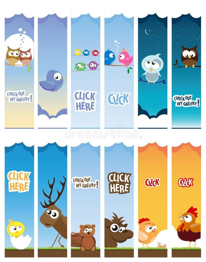 Bandiere animali di Web illustrazione di stock