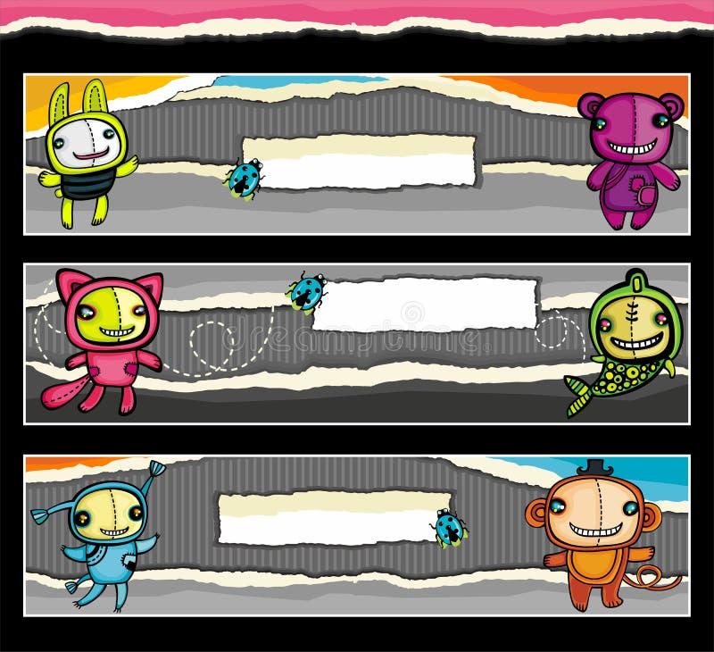 Bandiere animalistic sveglie illustrazione di stock