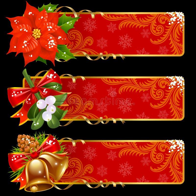 Bandiere anno di nuovo e di natale royalty illustrazione gratis