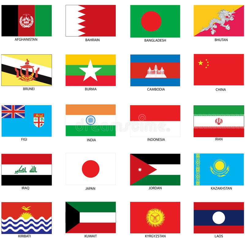 Bandiere asiatiche illustrazione vettoriale