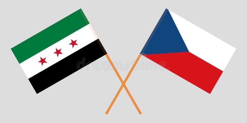 Bandiere attraversate di opposizione della Siria e della repubblica Ceca Colori ufficiali Proporzione corretta Vettore illustrazione vettoriale