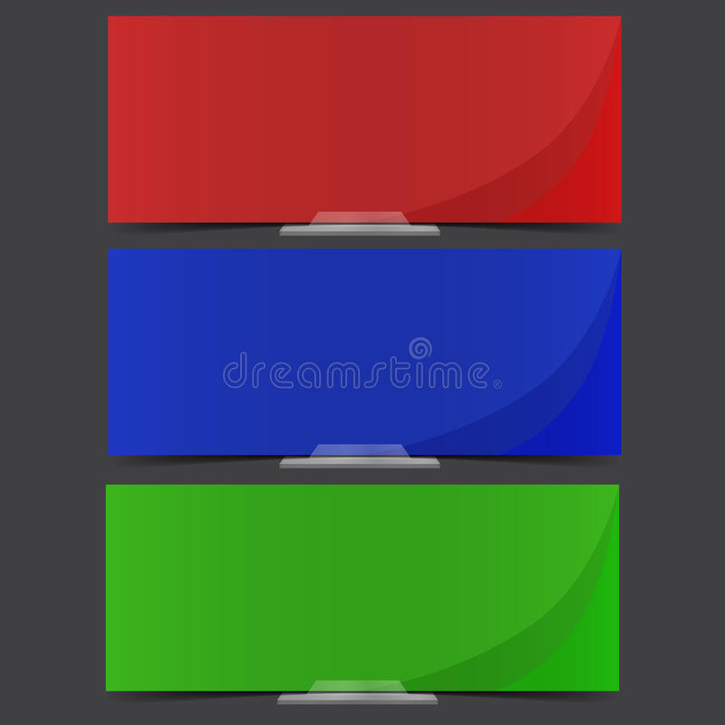 Bandiere colorate con i basamenti semitransparent. illustrazione di stock