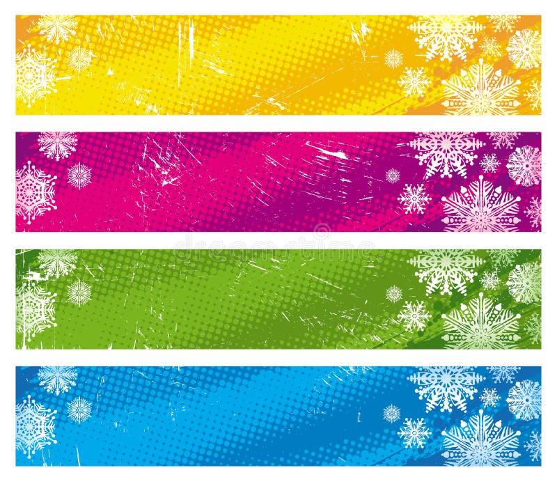 Bandiere con i fiocchi di neve illustrazione vettoriale