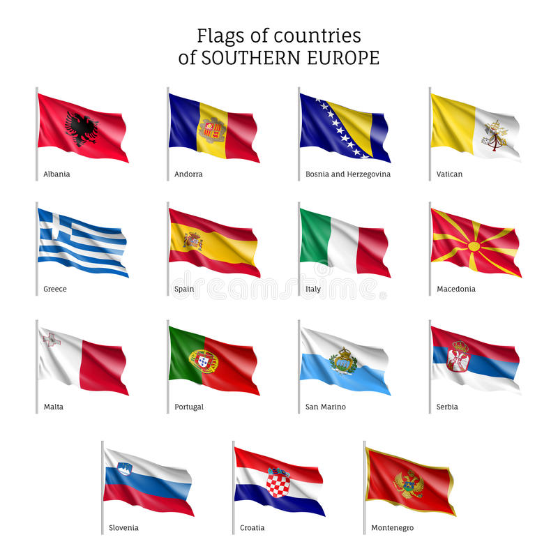 Bandiere d'ondeggiamento dei paesi europei illustrazione vettoriale