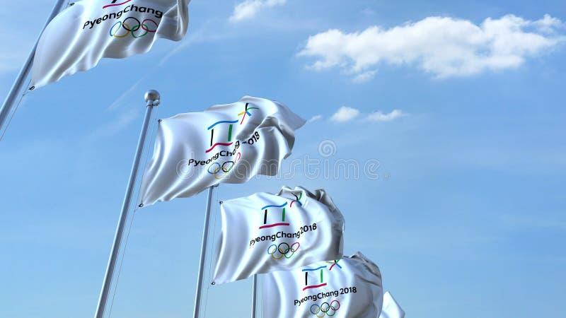 Bandiere d'ondeggiamento multiple con il logo 2018 di olimpiadi invernali di PyeongChang Rappresentazione editoriale 3D illustrazione di stock