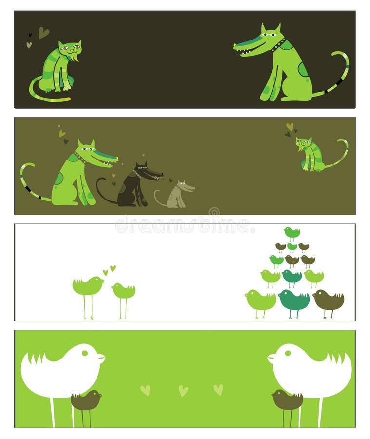 Bandiere degli animali royalty illustrazione gratis