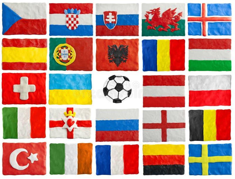 Bandiere 2016 degli Stati membri dell'EURO dell'UEFA fatte di plasticine royalty illustrazione gratis