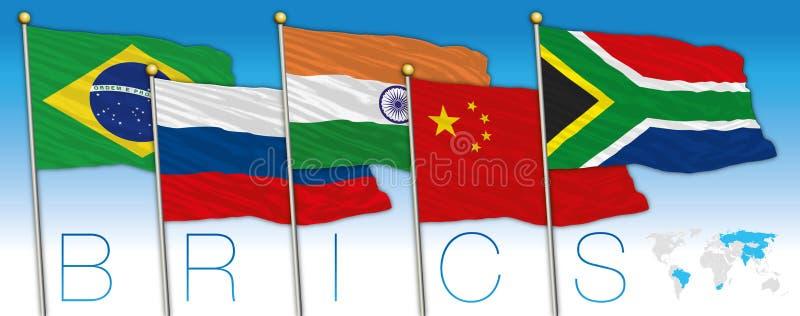 Bandiere dei coutries di BRICS e mappa, illustrazione di vettore illustrazione di stock