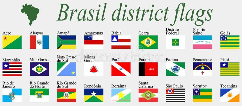 Bandiere dei distretti del Brasile illustrazione vettoriale