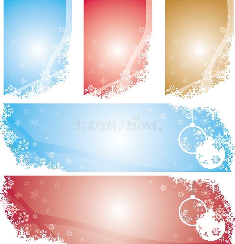 Bandiere dei fiocchi di neve di natale illustrazione di stock