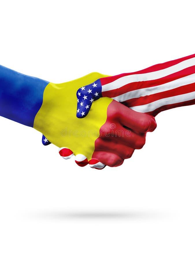Bandiere dei paesi dell'Andorra e degli Stati Uniti, stretta di mano ristampata immagine stock