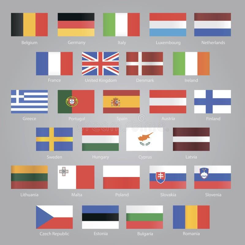 Bandiere dei paesi dell'UE illustrazione vettoriale