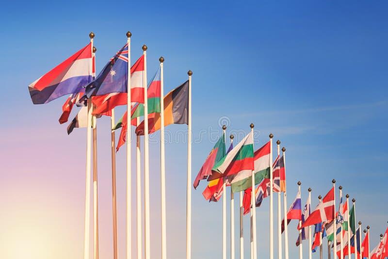 Bandiere dei paesi differenti contro una luce solare fotografia stock libera da diritti