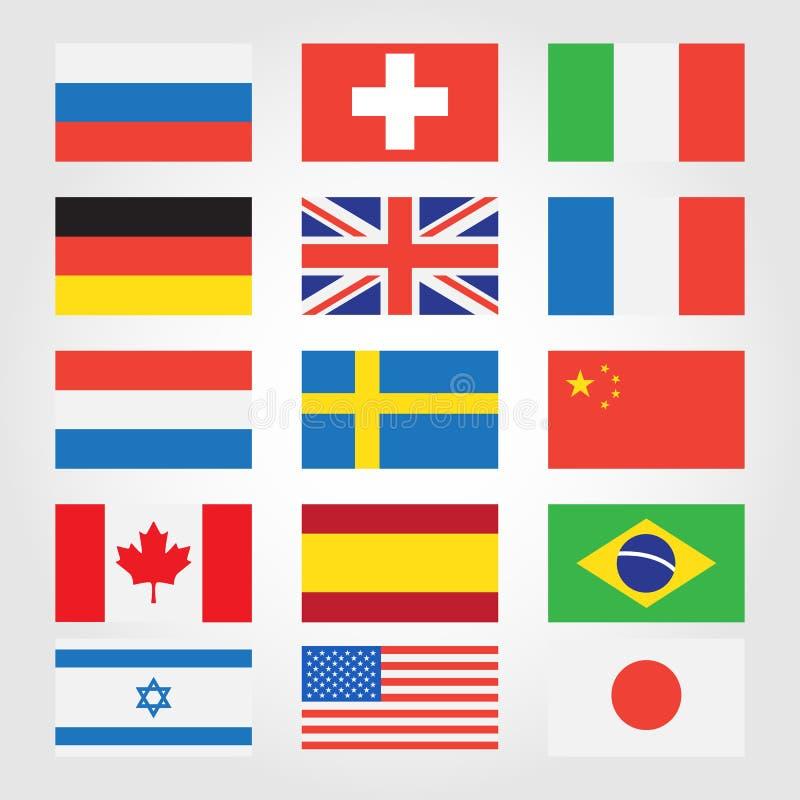 Bandiere dei paesi intorno al mondo illustrazione vettoriale