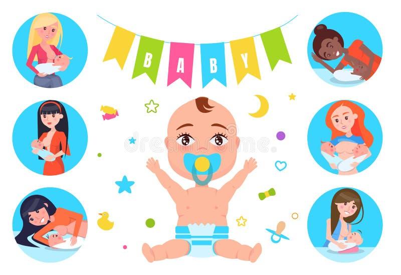 Bandiere del bambino ed illustrazione di vettore di allattamento al seno illustrazione vettoriale