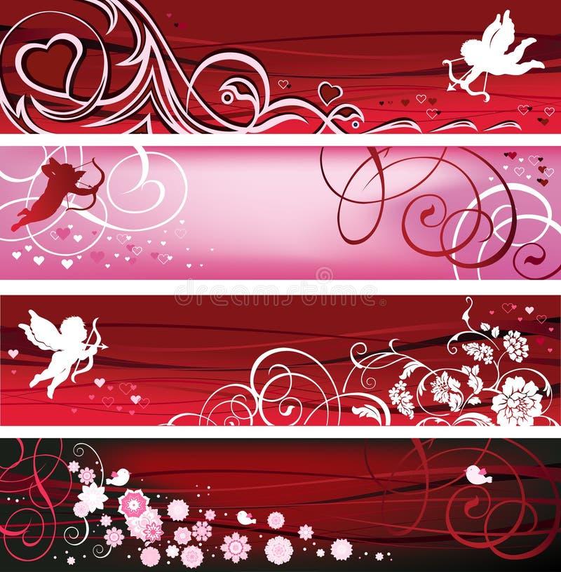 Bandiere del biglietto di S. Valentino. royalty illustrazione gratis