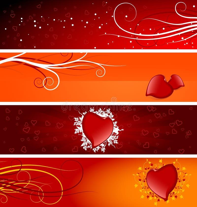 Bandiere del biglietto di S. Valentino illustrazione di stock