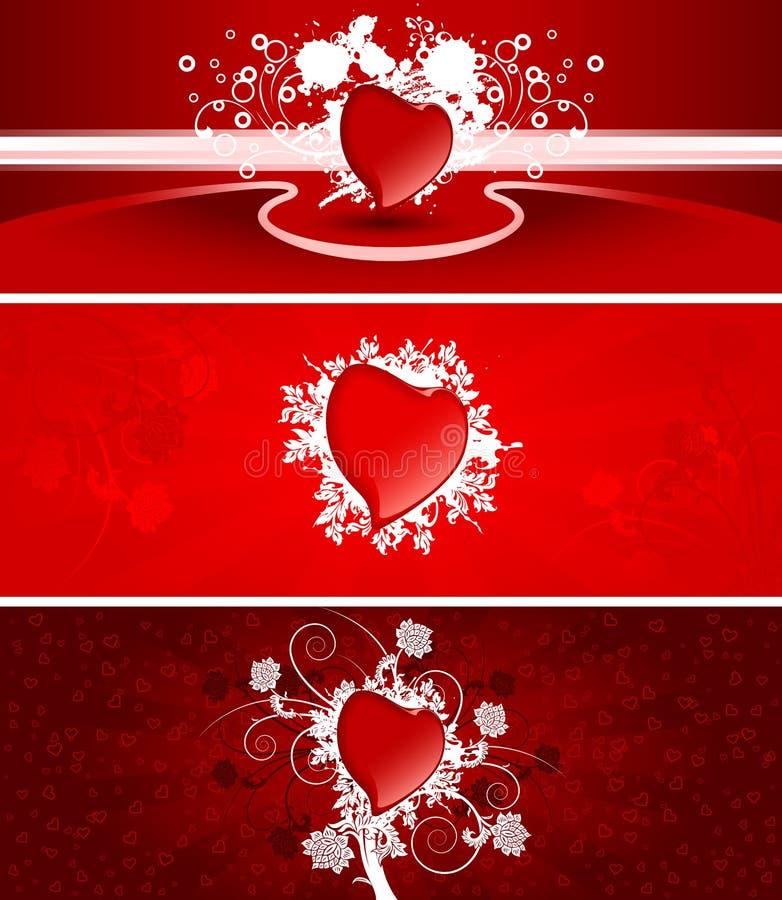 Bandiere del biglietto di S. Valentino illustrazione vettoriale