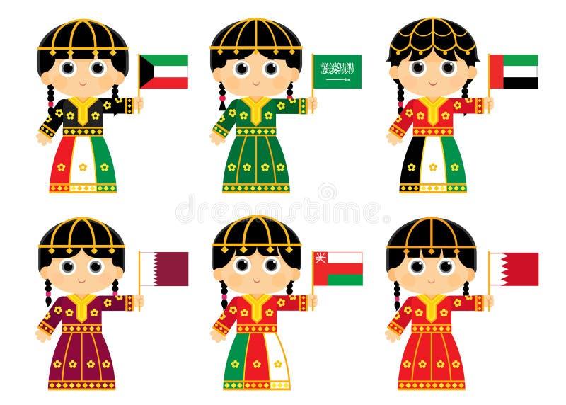 Bandiere del consiglio di cooperazione del golfo royalty illustrazione gratis