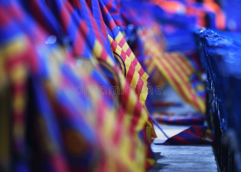 Bandiere del FC Barcelona nei supporti immagini stock