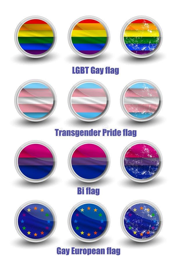 Bandiere del gay di LGBT illustrazione di stock
