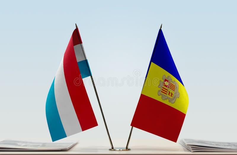Bandiere del Lussemburgo e dell'Andorra immagine stock