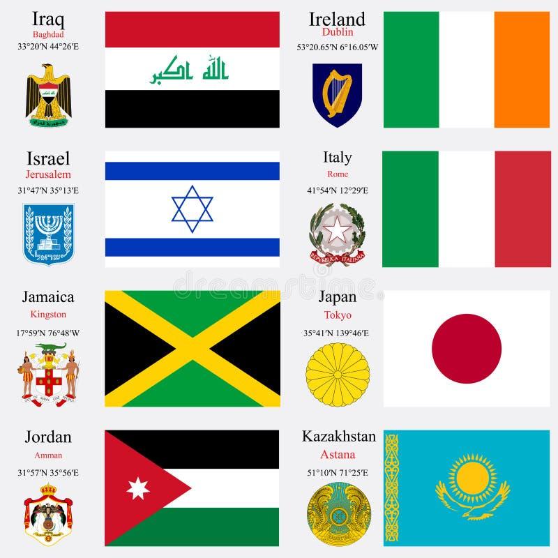 Le bandiere ed i capitali del mondo hanno messo 11 illustrazione vettoriale