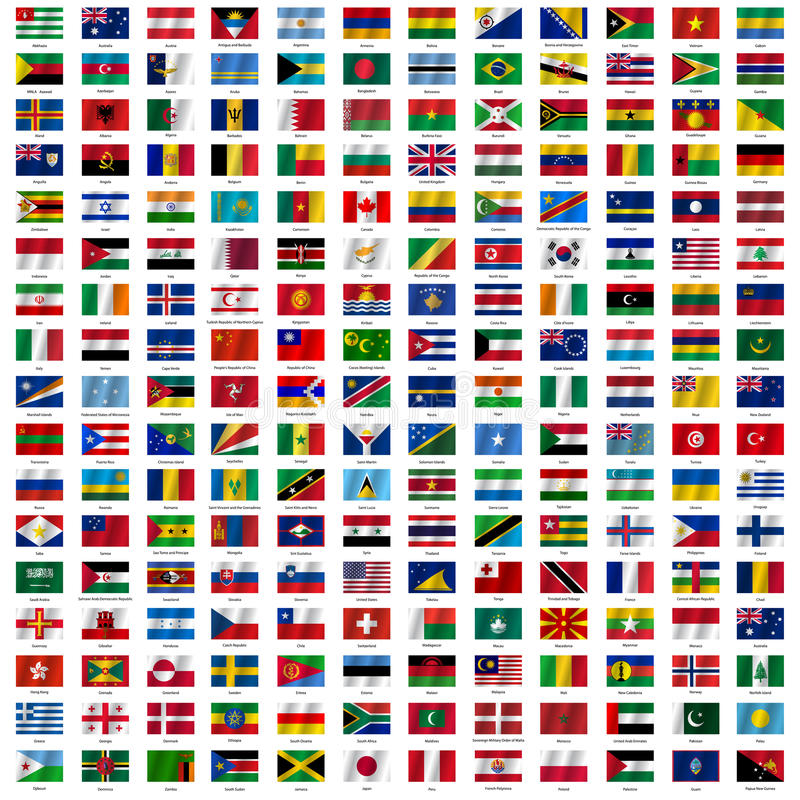 Bandiere del mondo e della mappa su fondo bianco illustrazione vettoriale