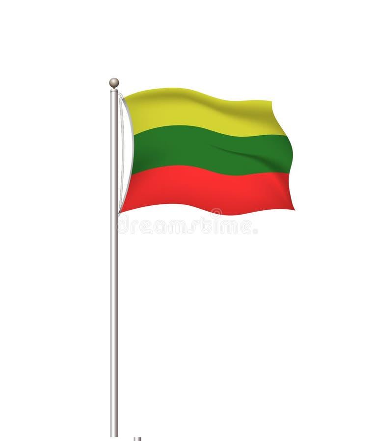 Bandiere del mondo Fondo trasparente della posta della bandiera nazionale del paese lithuania Illustrazione di vettore illustrazione di stock