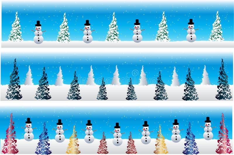Bandiere del pupazzo di neve di natale illustrazione vettoriale