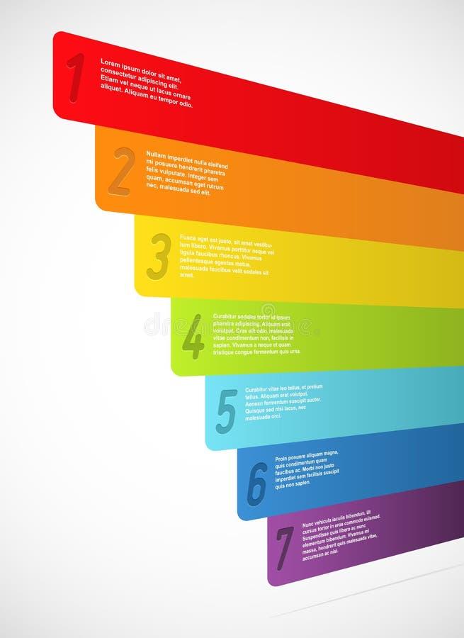 Bandiere del Rainbow con i numeri illustrazione di stock