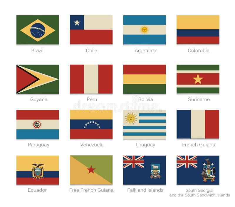 Bandiere del Sudamerica con colori d'annata illustrazione vettoriale