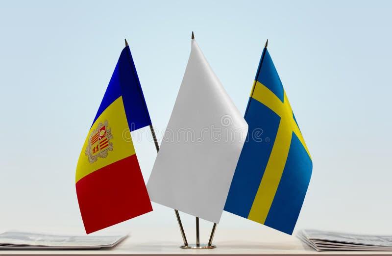 Bandiere dell'Andorra e della Svezia fotografia stock