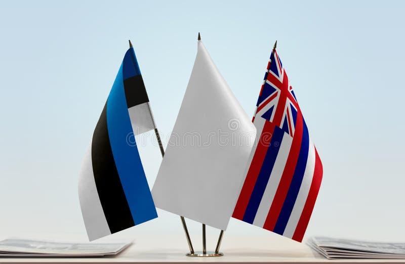 Bandiere dell'Estonia e delle Hawai fotografia stock libera da diritti