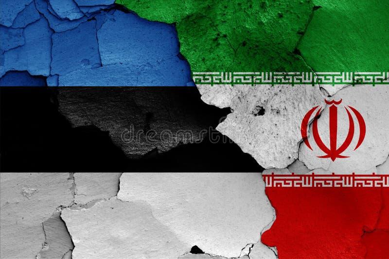 Bandiere dell'Estonia e dell'Iran fotografia stock libera da diritti