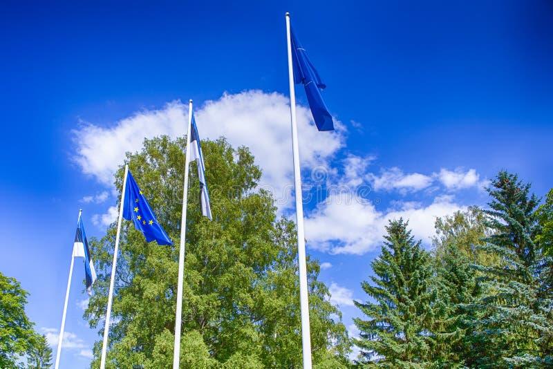 Bandiere dell'Estonia e dell'Unione Europea Wayving insieme sul vento immagine stock libera da diritti