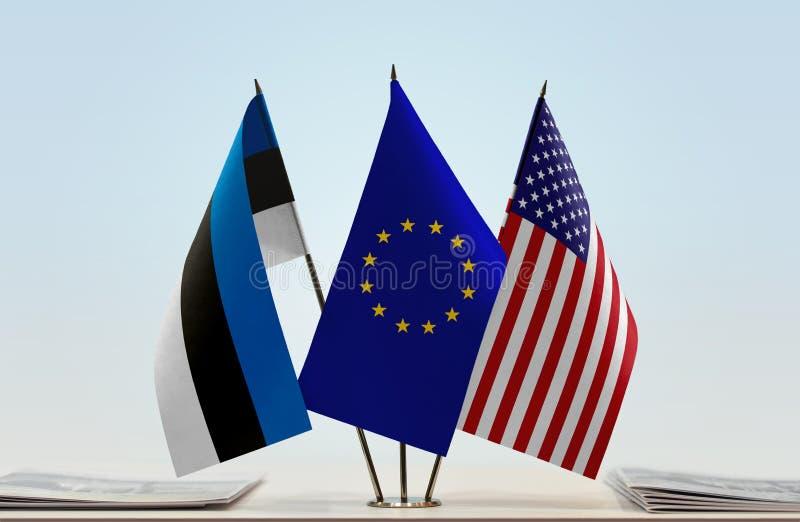 Bandiere dell'Estonia UE e di U.S.A. immagini stock libere da diritti