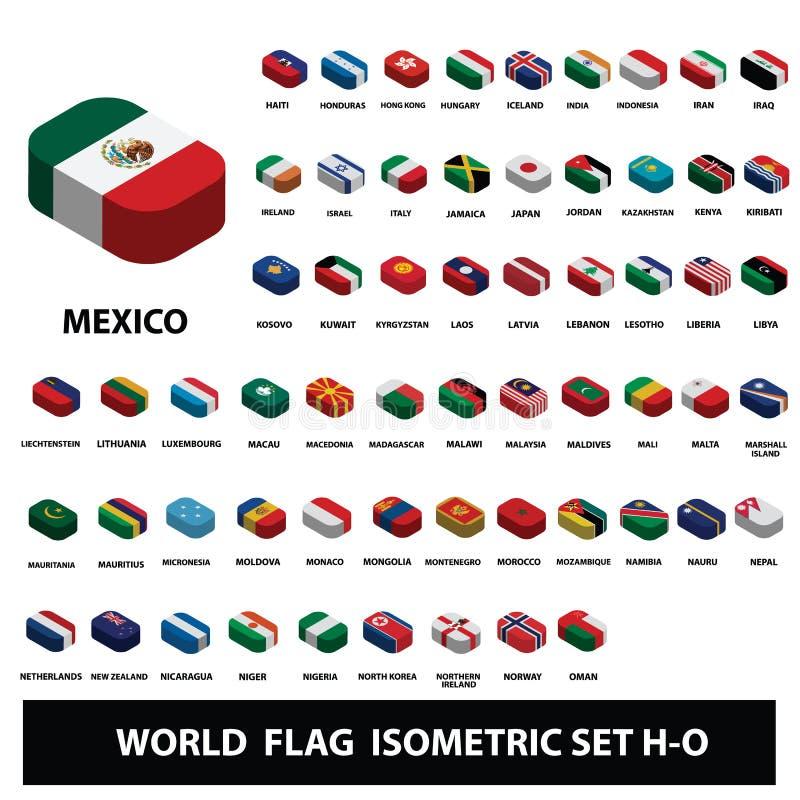 Bandiere dell'insieme isometrico delle bandiere della raccolta dei paesi del mondo H-O fotografia stock